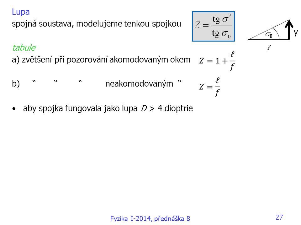 """27 Lupa spojná soustava, modelujeme tenkou spojkou tabule a) zvětšení při pozorování akomodovaným okem b) """" """" """" neakomodovaným """" aby spojka fungovala"""