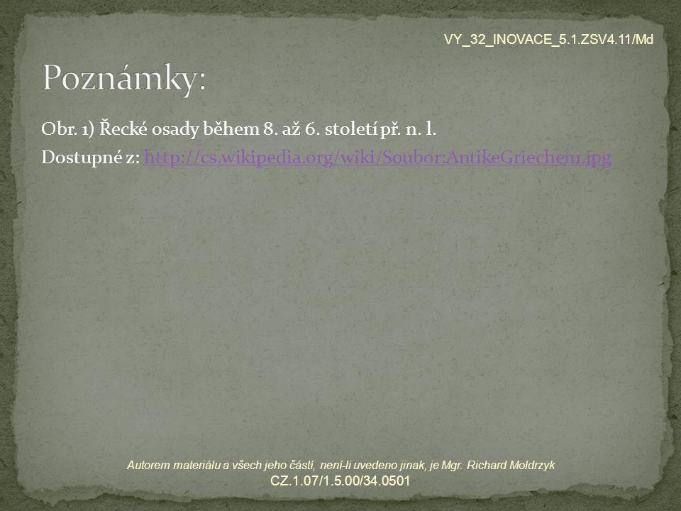 Obr. 1) Řecké osady během 8. až 6. století př. n. l. Dostupné z: http://cs.wikipedia.org/wiki/Soubor:AntikeGriechen1.jpghttp://cs.wikipedia.org/wiki/S