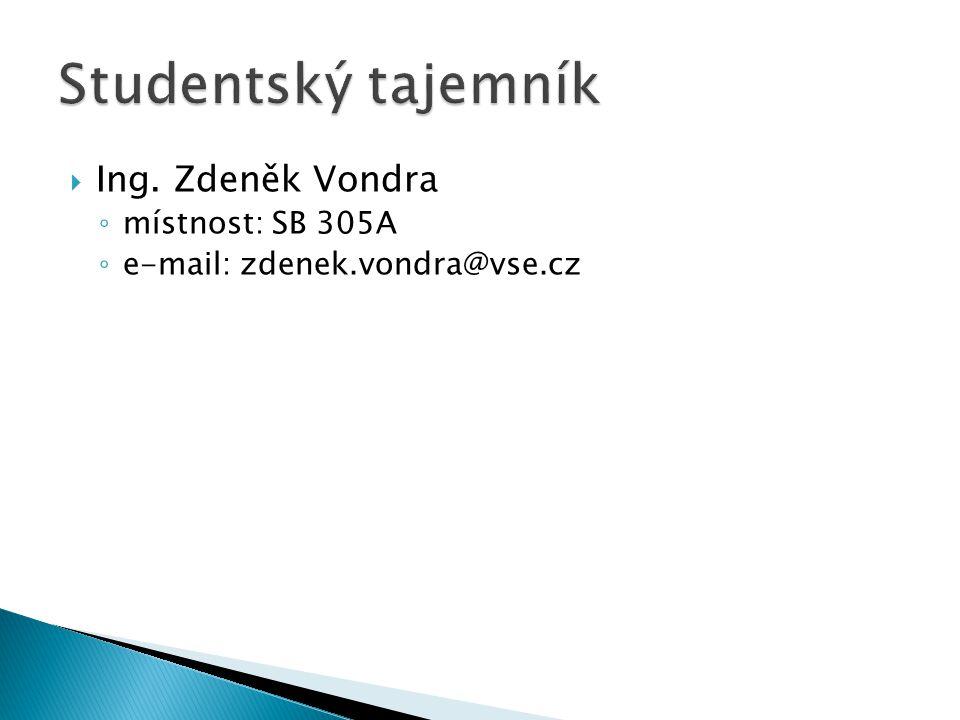  Ing. Zdeněk Vondra ◦ místnost: SB 305A ◦ e-mail: zdenek.vondra@vse.cz