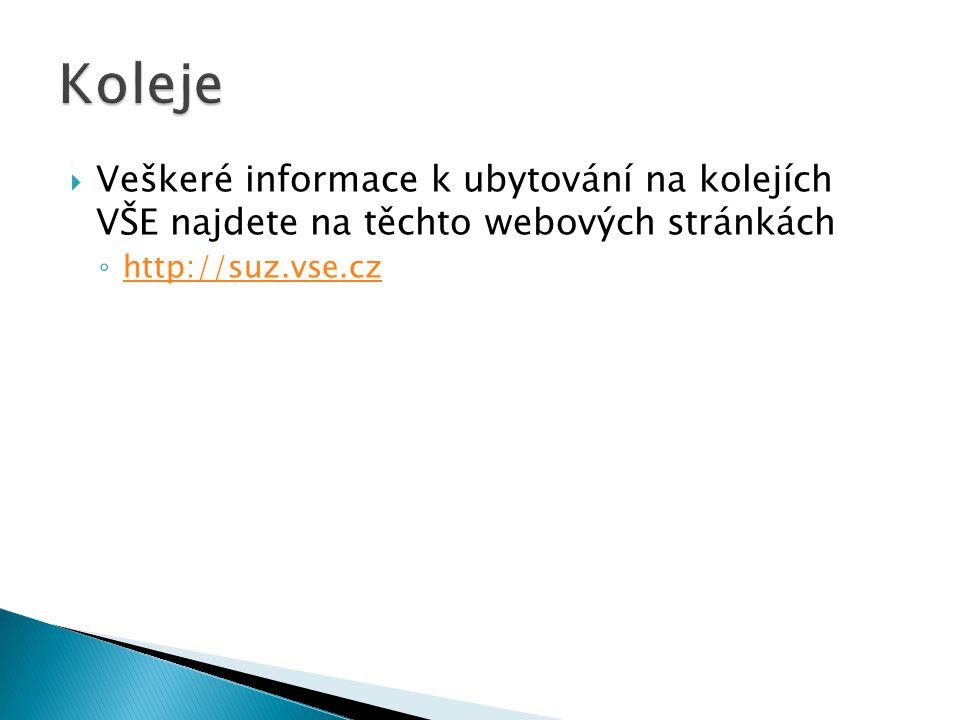  Veškeré informace k ubytování na kolejích VŠE najdete na těchto webových stránkách ◦ http://suz.vse.cz http://suz.vse.cz
