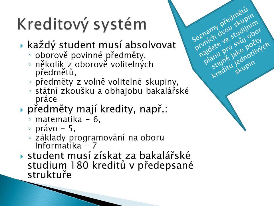  každý student musí absolvovat ◦ oborově povinné předměty, ◦ několik z oborově volitelných předmětů, ◦ předměty z volně volitelné skupiny, ◦ státní z
