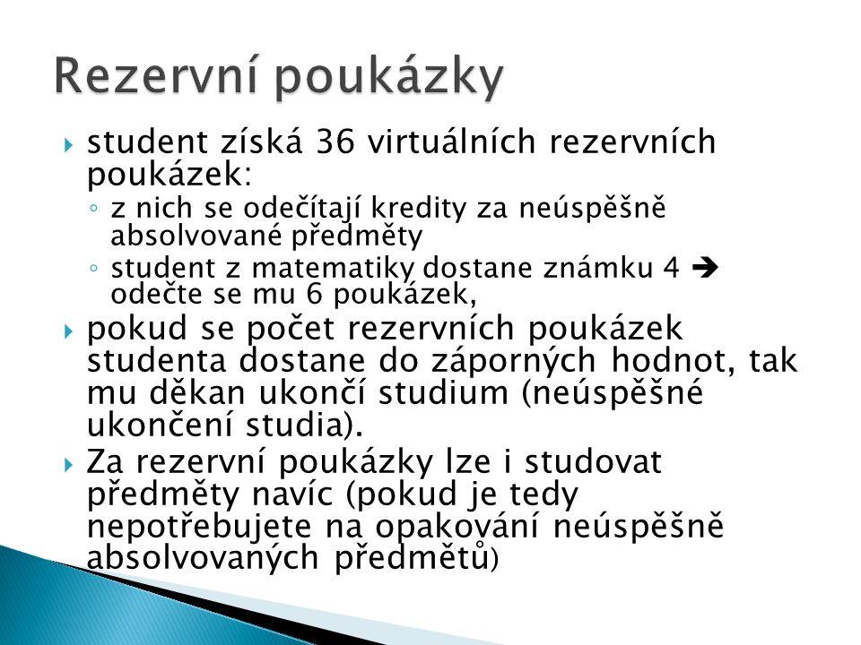  student získá 36 virtuálních rezervních poukázek: ◦ z nich se odečítají kredity za neúspěšně absolvované předměty ◦ student z matematiky dostane zná