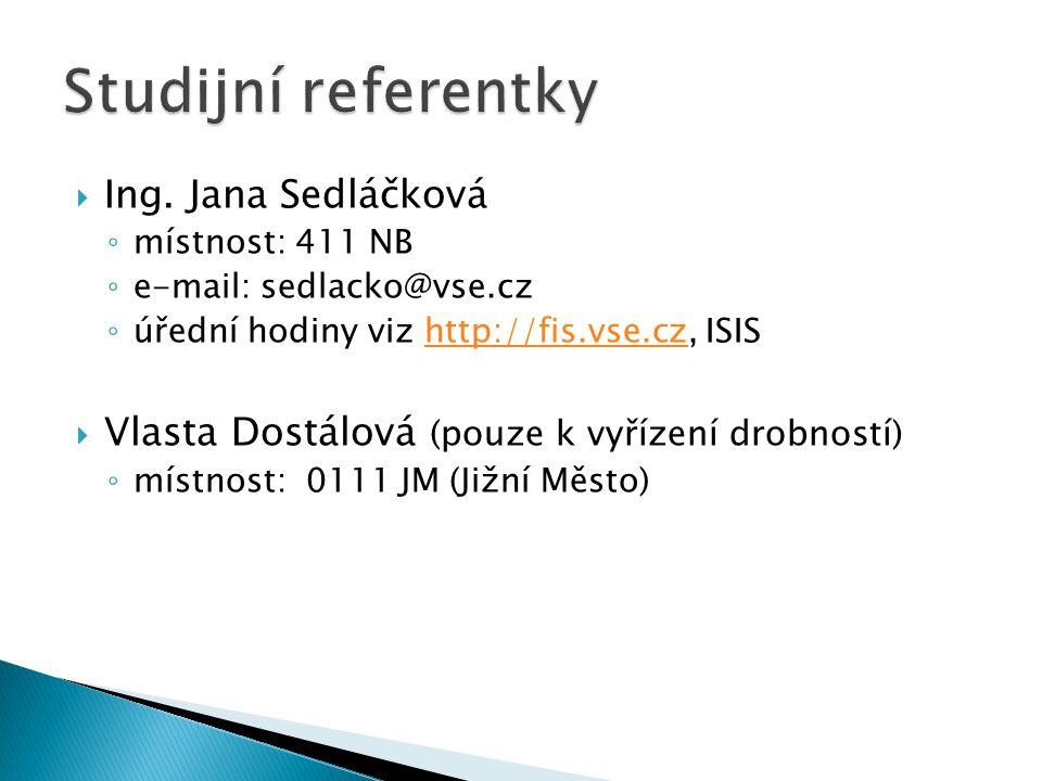 Ing. Jana Sedláčková ◦ místnost: 411 NB ◦ e-mail: sedlacko@vse.cz ◦ úřední hodiny viz http://fis.vse.cz, ISIShttp://fis.vse.cz  Vlasta Dostálová (p