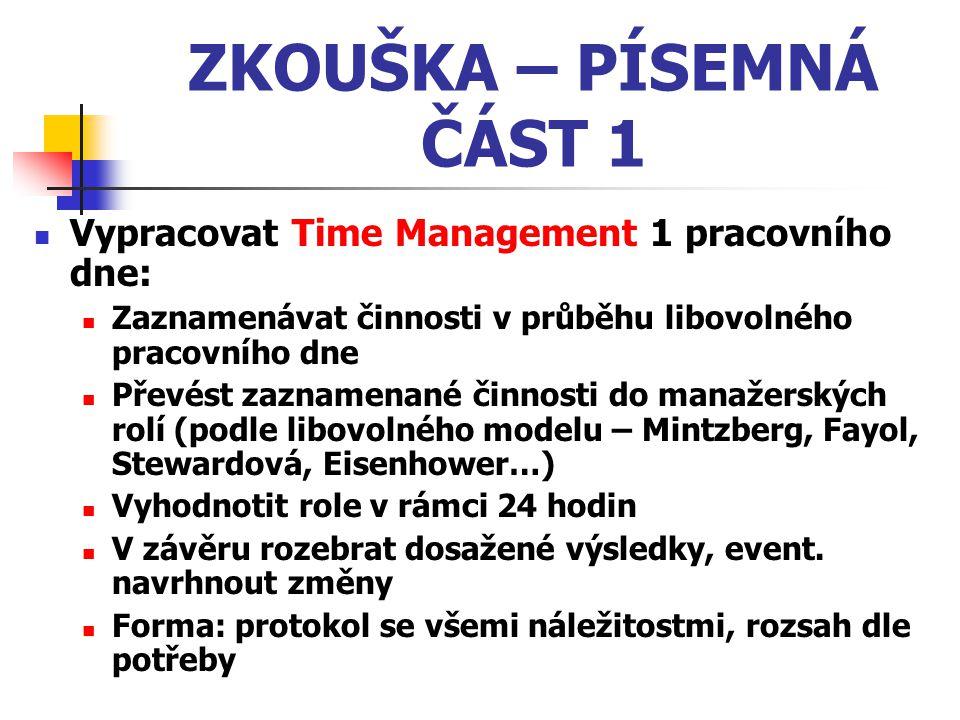 ZKOUŠKA – PÍSEMNÁ ČÁST 2 Zpracovat reflexi z četby knihy dle vlastního výběru z oblasti managementu (příp.