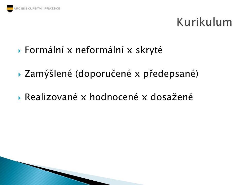  Formální x neformální x skryté  Zamýšlené (doporučené x předepsané)  Realizované x hodnocené x dosažené