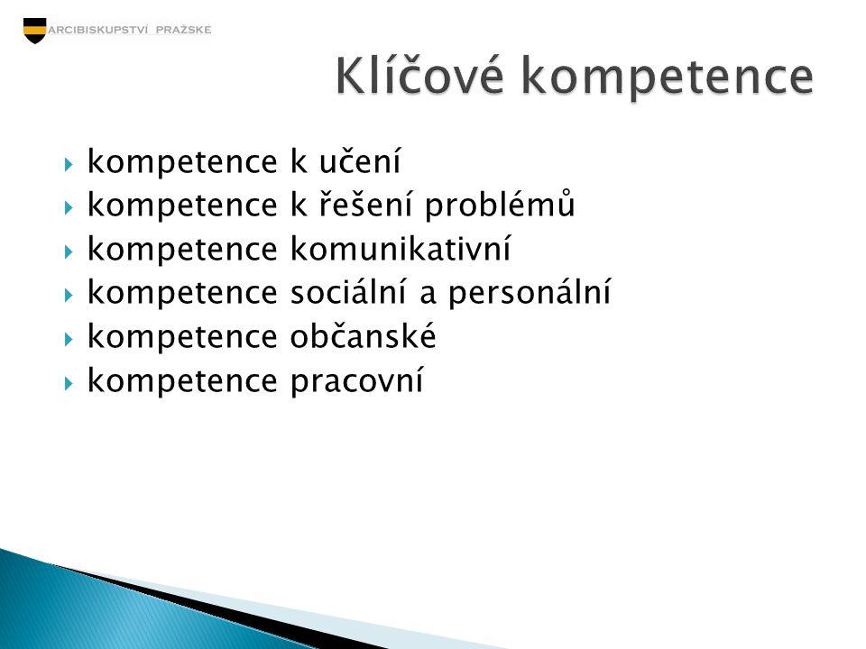  kompetence k učení  kompetence k řešení problémů  kompetence komunikativní  kompetence sociální a personální  kompetence občanské  kompetence p