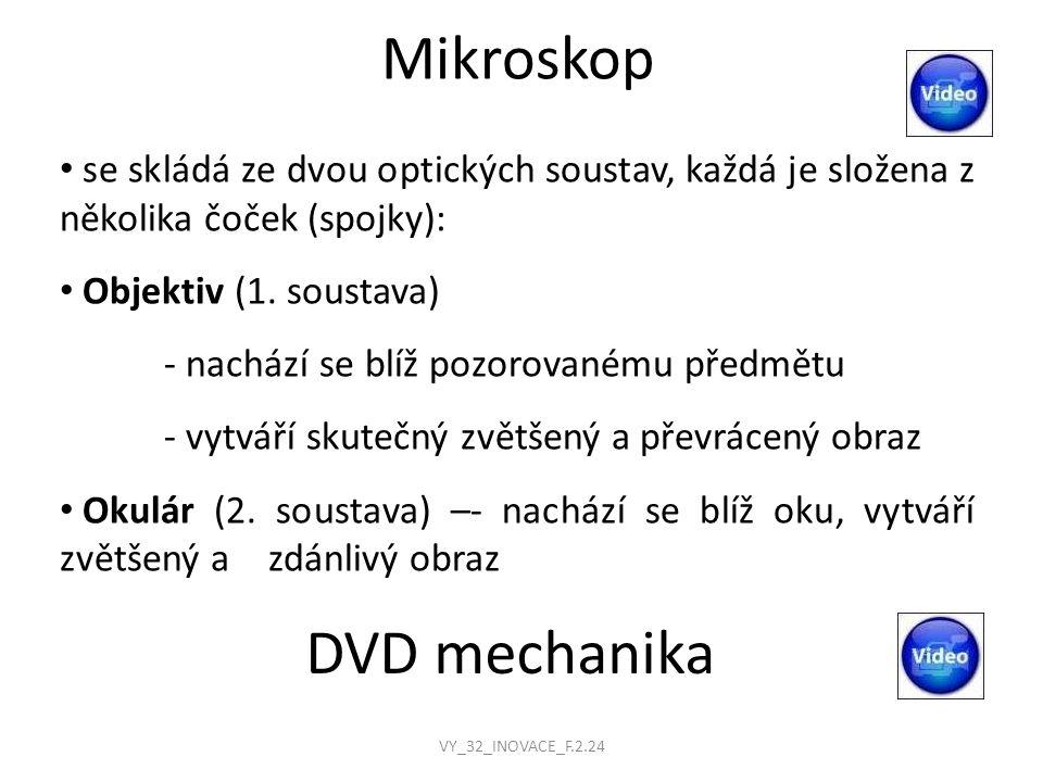 Mikroskop se skládá ze dvou optických soustav, každá je složena z několika čoček (spojky): Objektiv (1.