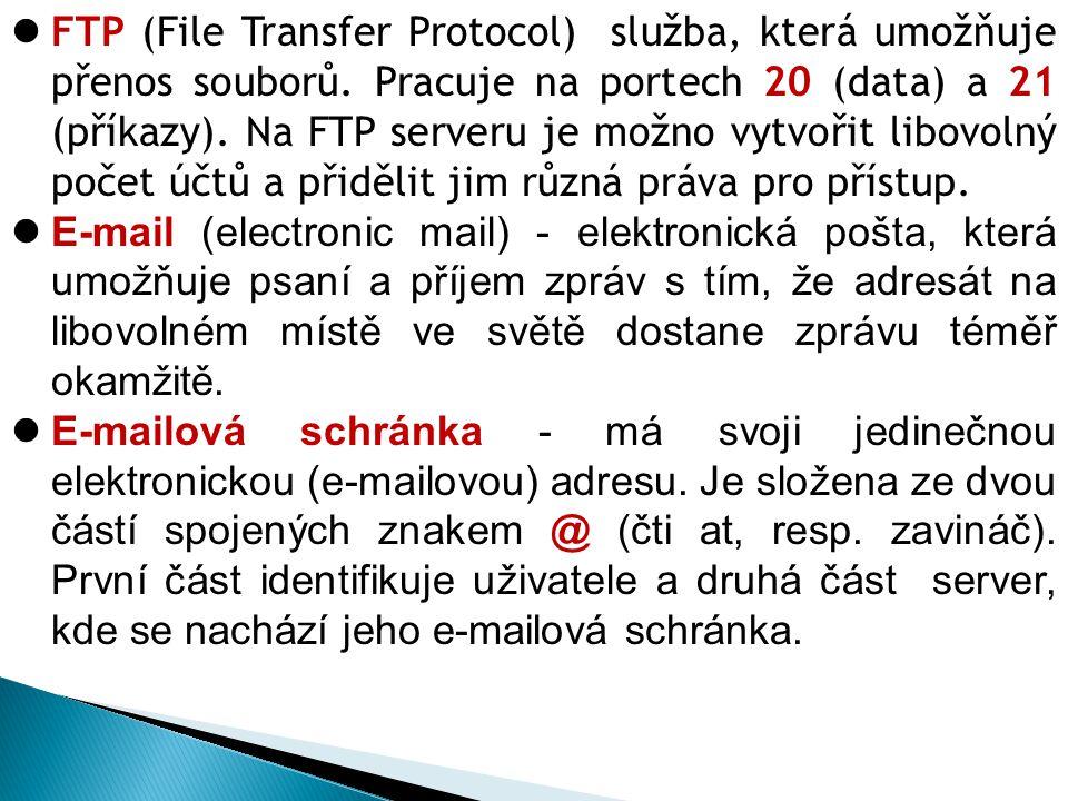 FTP (File Transfer Protocol) služba, která umožňuje přenos souborů.