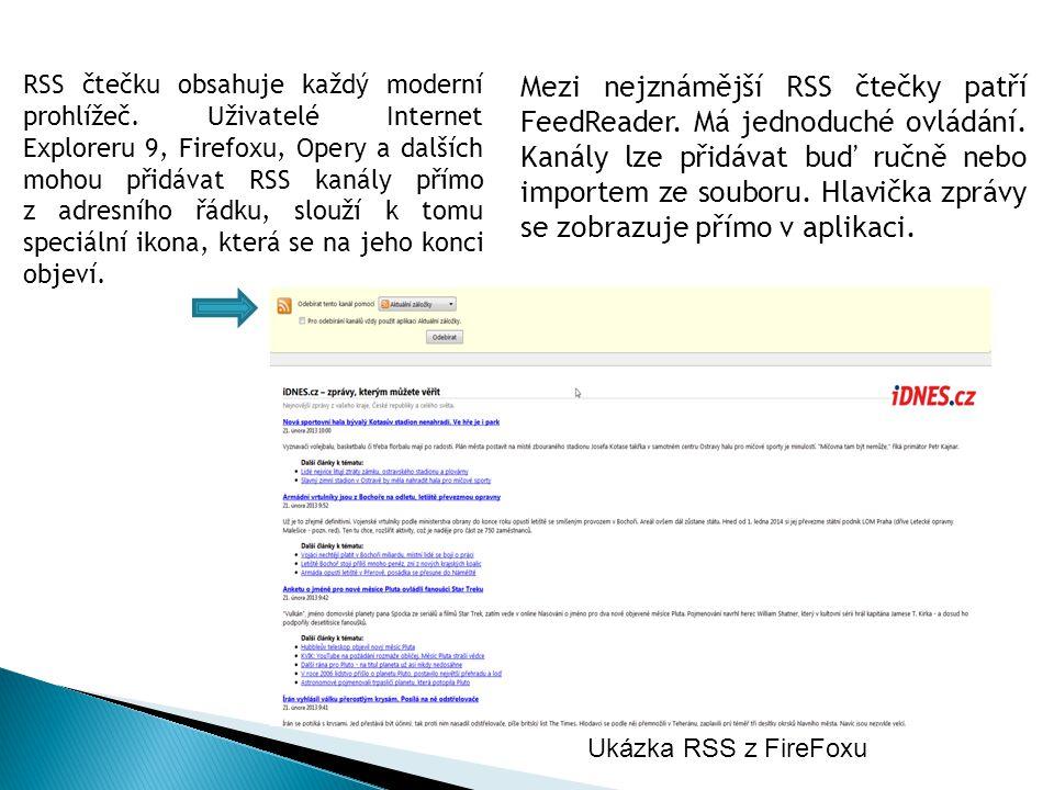 Mezi nejznámější RSS čtečky patří FeedReader. Má jednoduché ovládání. Kanály lze přidávat buď ručně nebo importem ze souboru. Hlavička zprávy se zobra