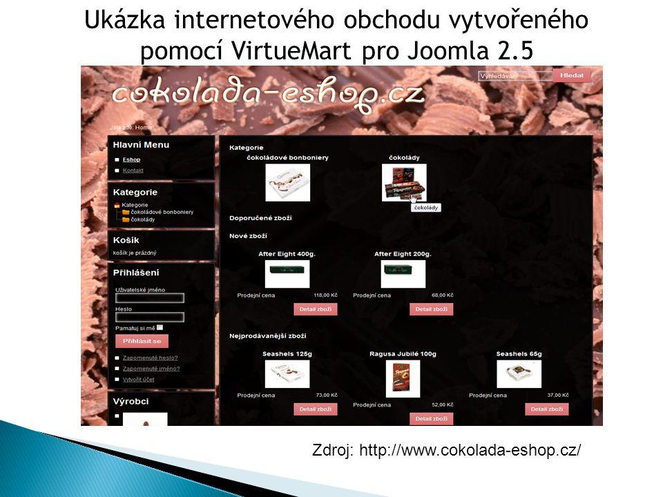 Zdroj: http://www.cokolada-eshop.cz/ Ukázka internetového obchodu vytvořeného pomocí VirtueMart pro Joomla 2.5