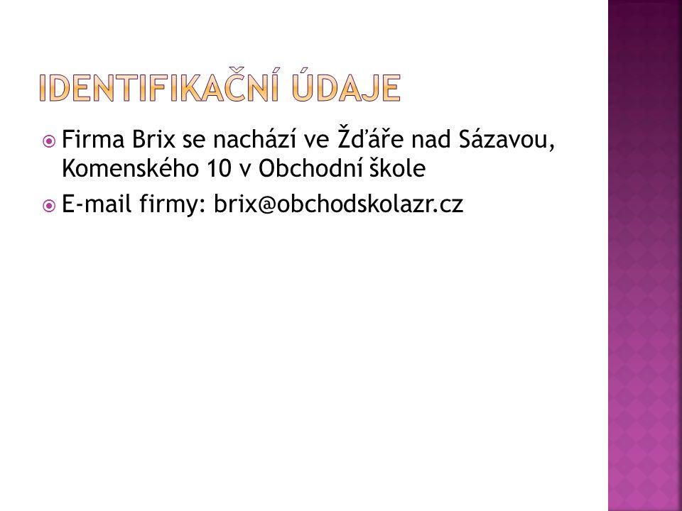  Firma Brix se nachází ve Žďáře nad Sázavou, Komenského 10 v Obchodní škole  E-mail firmy: brix@obchodskolazr.cz
