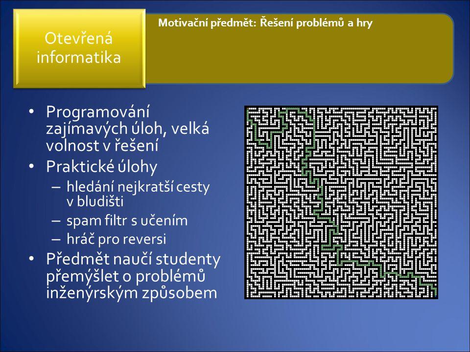 Programování zajímavých úloh, velká volnost v řešení Praktické úlohy – hledání nejkratší cesty v bludišti – spam filtr s učením – hráč pro reversi Pře