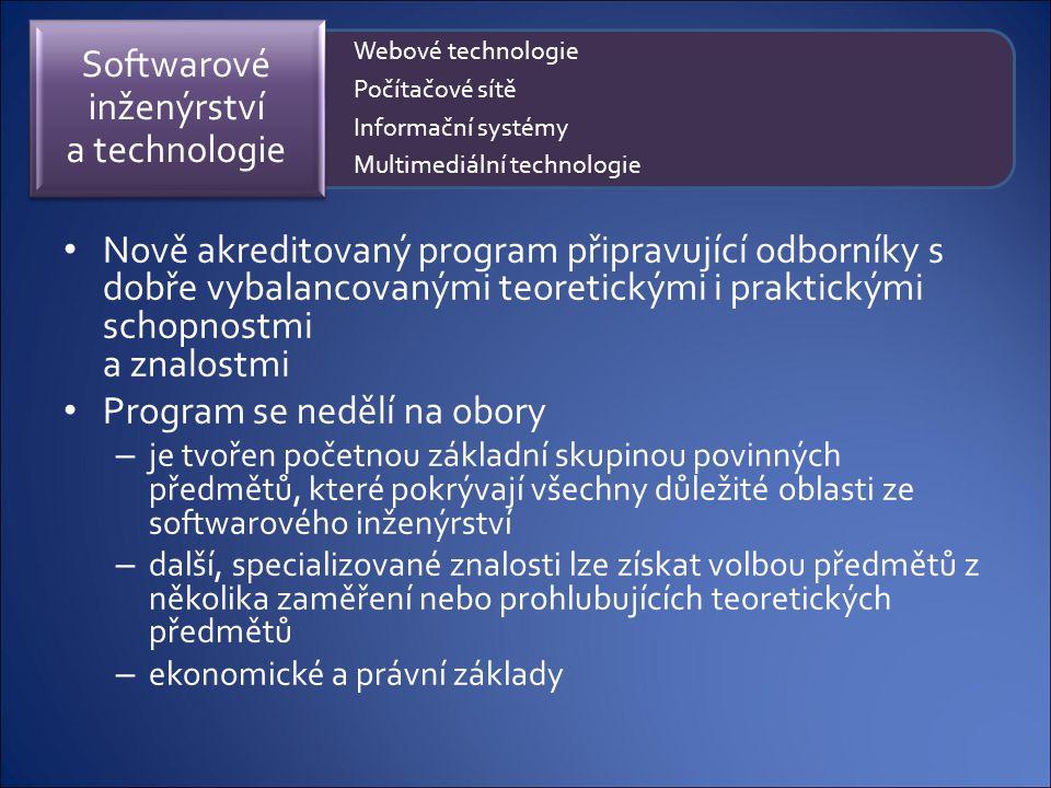 Nově akreditovaný program připravující odborníky s dobře vybalancovanými teoretickými i praktickými schopnostmi a znalostmi Program se nedělí na obory
