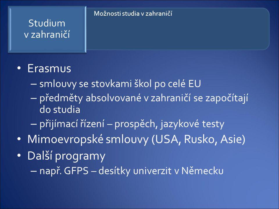 Erasmus – smlouvy se stovkami škol po celé EU – předměty absolvované v zahraničí se započítají do studia – přijímací řízení – prospěch, jazykové testy