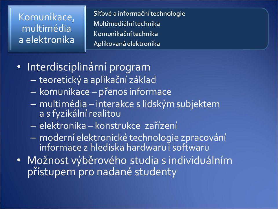 Interdisciplinární program – teoretický a aplikační základ – komunikace – přenos informace – multimédia – interakce s lidským subjektem a s fyzikální
