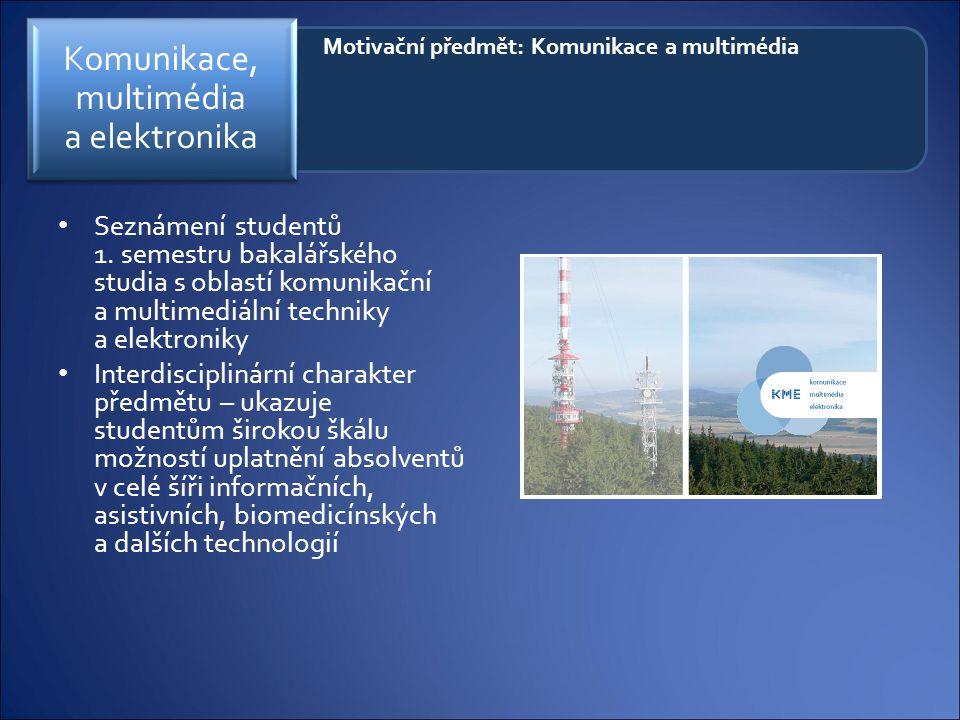 Motivační předmět: Komunikace a multimédia Seznámení studentů 1. semestru bakalářského studia s oblastí komunikační a multimediální techniky a elektro