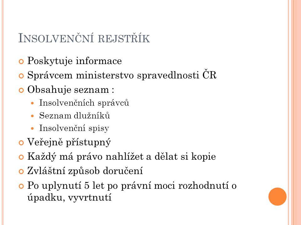 I NSOLVENČNÍ REJSTŘÍK Poskytuje informace Správcem ministerstvo spravedlnosti ČR Obsahuje seznam : Insolvenčních správců Seznam dlužníků Insolvenční s