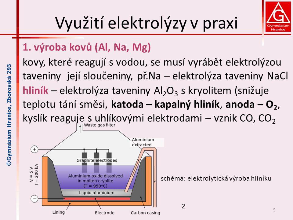 Využití elektrolýzy v praxi 1. výroba kovů (Al, Na, Mg) kovy, které reagují s vodou, se musí vyrábět elektrolýzou taveniny její sloučeniny, př.Na – el