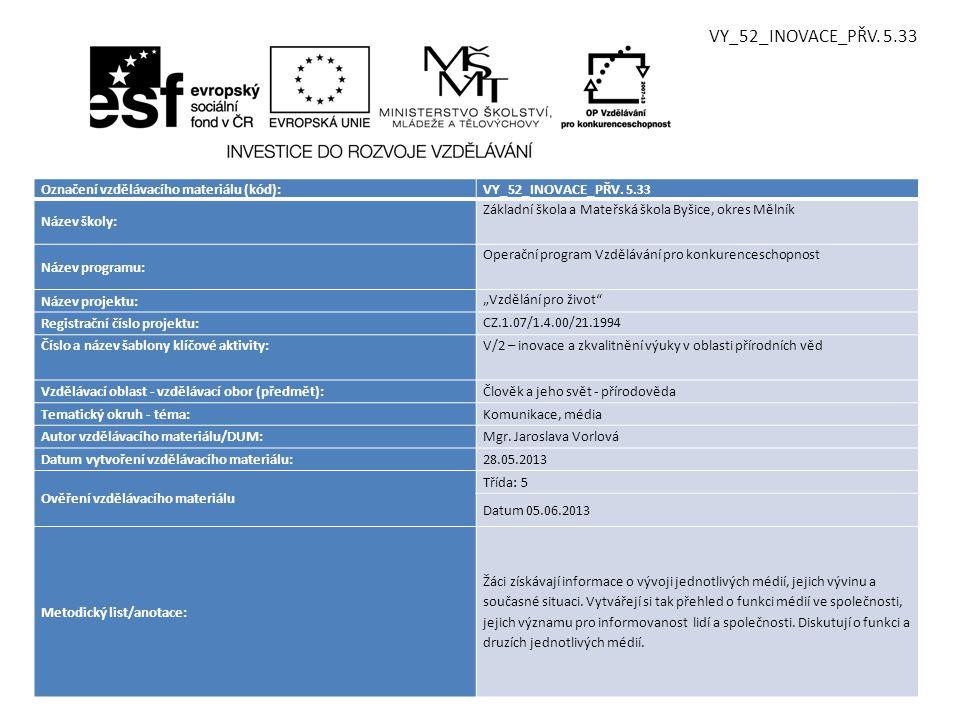 Označení vzdělávacího materiálu (kód):VY_52_INOVACE_PŘV. 5.33 Název školy: Základní škola a Mateřská škola Byšice, okres Mělník Název programu: Operač
