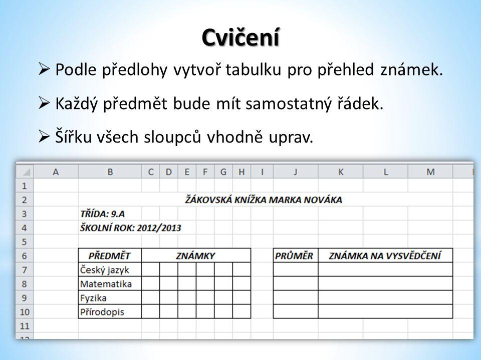 Cvičení  Podle předlohy vytvoř tabulku pro přehled známek.  Každý předmět bude mít samostatný řádek.  Šířku všech sloupců vhodně uprav.