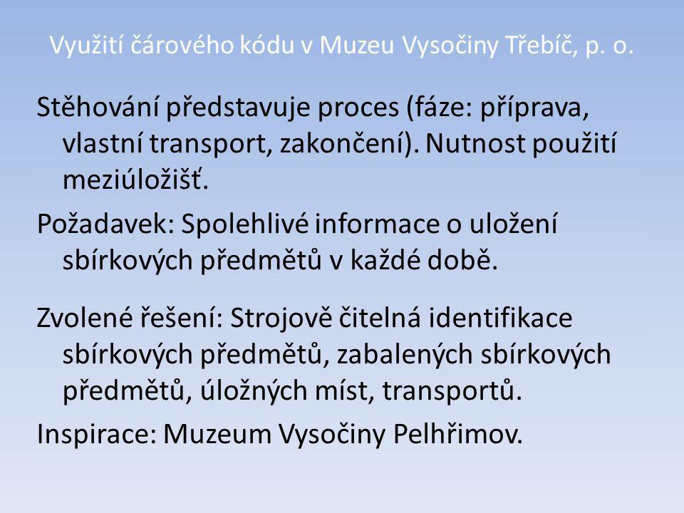 Využití čárového kódu v Muzeu Vysočiny Třebíč, p. o. Uložení knihovního fondu.