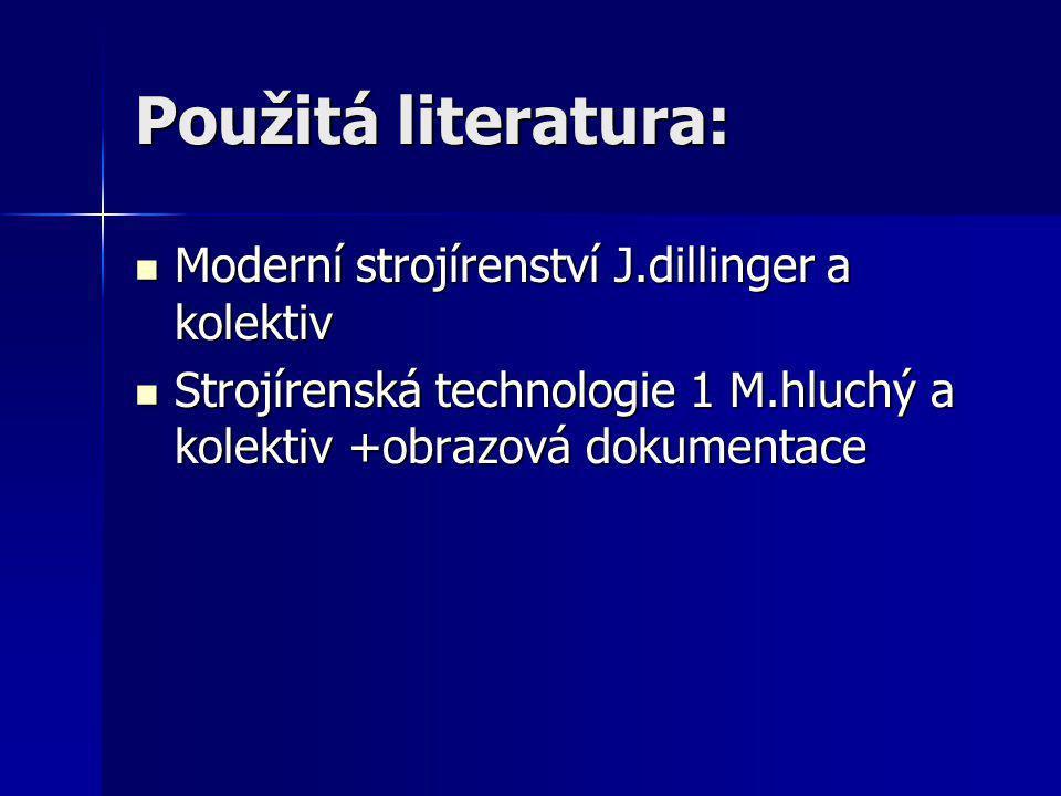 Použitá literatura: Moderní strojírenství J.dillinger a kolektiv Moderní strojírenství J.dillinger a kolektiv Strojírenská technologie 1 M.hluchý a ko