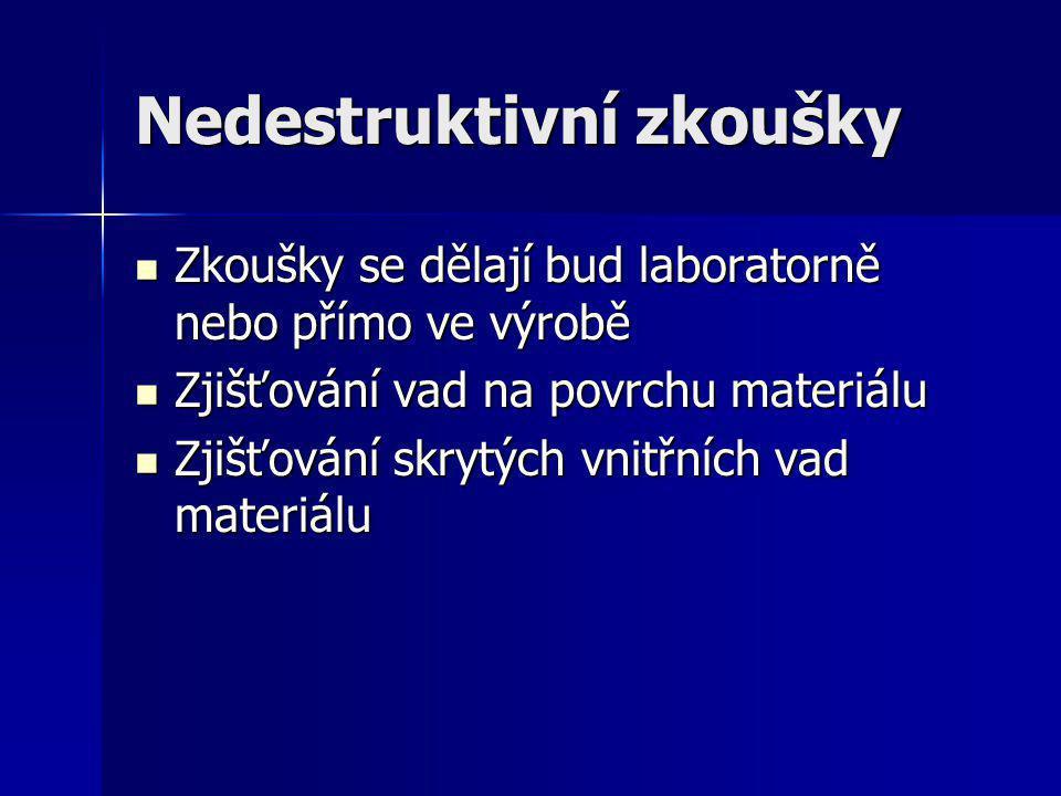 Nedestruktivní zkoušky Zkoušky se dělají bud laboratorně nebo přímo ve výrobě Zkoušky se dělají bud laboratorně nebo přímo ve výrobě Zjišťování vad na