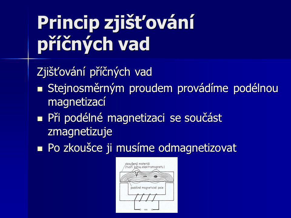 Princip elektromagnetického defektoskopu Elektromagnetický defektoskop Zkoušený předmět upínáme, ve kterých lze podélnou i příčnou magnetizaci kombinovat Zkoušený předmět upínáme, ve kterých lze podélnou i příčnou magnetizaci kombinovat