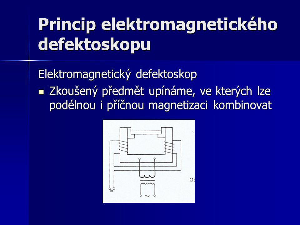 Princip elektromagnetického defektoskopu Elektromagnetický defektoskop Zkoušený předmět upínáme, ve kterých lze podélnou i příčnou magnetizaci kombino