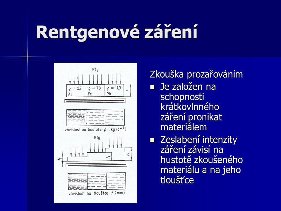Rentgenové záření- vada v materiálu Vada v materiálu Vada v materiálu Je-li v předmětu vnitřní vada (póry,staženy,v odlitcích,svarech,výkovcích)je v tomto místě skutečná tlouštka kovu menší o rozměr vady ve směru záření Je-li v předmětu vnitřní vada (póry,staženy,v odlitcích,svarech,výkovcích)je v tomto místě skutečná tlouštka kovu menší o rozměr vady ve směru záření Hustota materiálu v místě vady je také menší Hustota materiálu v místě vady je také menší Vada se zobrazí na filmu (vyvolaném snímku) jako tmavá vrstva na světlém pozadí Vada se zobrazí na filmu (vyvolaném snímku) jako tmavá vrstva na světlém pozadí