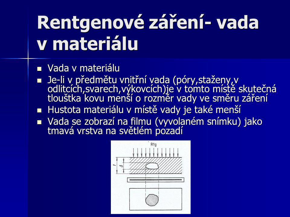 Princip zkoušky rentgenovými paprsky Princip rentgenové zkoušky Přístroj vysílá svazek paprsků přes filtr a clonu na zkoušený předmět Přístroj vysílá svazek paprsků přes filtr a clonu na zkoušený předmět Neozařované části jsou chráněny olověnou maskou Neozařované části jsou chráněny olověnou maskou Těsně za zkoumaným předmětem je kazeta s filmem Těsně za zkoumaným předmětem je kazeta s filmem Zjištěnou vadu na snímku na skutečném předmětu označujeme olověnými písmeny Zjištěnou vadu na snímku na skutečném předmětu označujeme olověnými písmeny