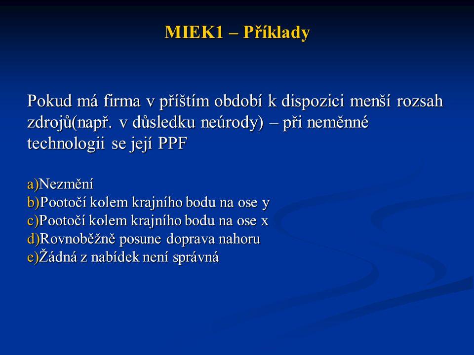 MIEK1 – Příklady Pokud má firma v příštím období k dispozici menší rozsah zdrojů(např. v důsledku neúrody) – při neměnné technologii se její PPF a)Nez