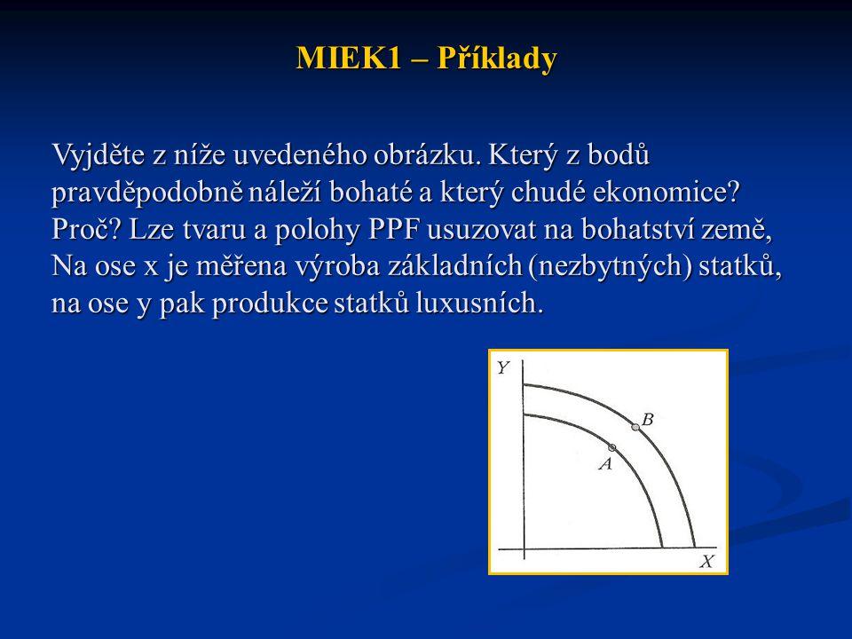 MIEK1 – Příklady Vyjděte z níže uvedeného obrázku. Který z bodů pravděpodobně náleží bohaté a který chudé ekonomice? Proč? Lze tvaru a polohy PPF usuz