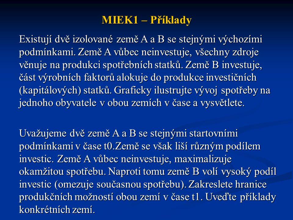 MIEK1 – Příklady Existují dvě izolované země A a B se stejnými výchozími podmínkami. Země A vůbec neinvestuje, všechny zdroje věnuje na produkci spotř