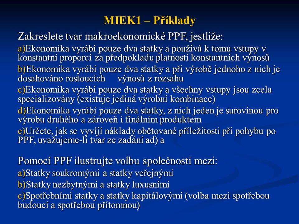 MIEK1 – Příklady Zakreslete tvar makroekonomické PPF, jestliže: a)Ekonomika vyrábí pouze dva statky a používá k tomu vstupy v konstantní proporci za p