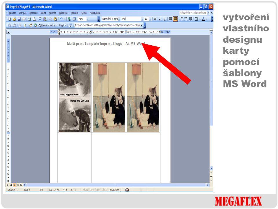 vytvoření vlastního designu karty CorelDraw MS Word