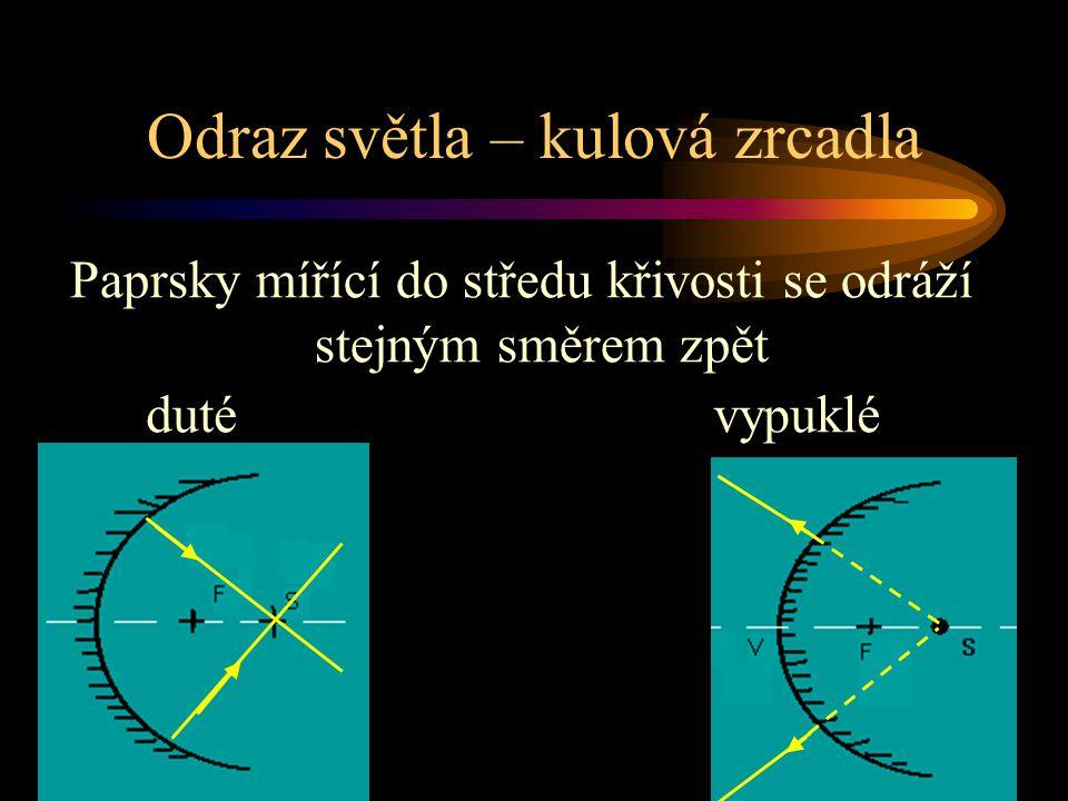 Odraz světla – kulová zrcadla duté Paprsky mířící do středu křivosti se odráží stejným směrem zpět vypuklé