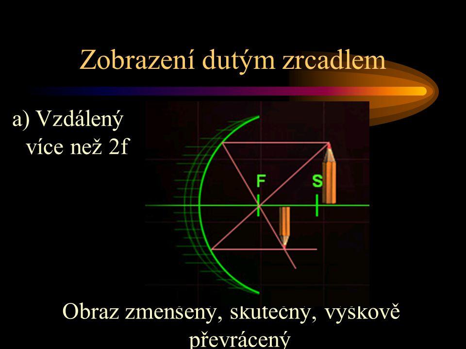Zobrazení dutým zrcadlem Obraz zmenšený, skutečný, výškově převrácený a) Vzdálený více než 2f