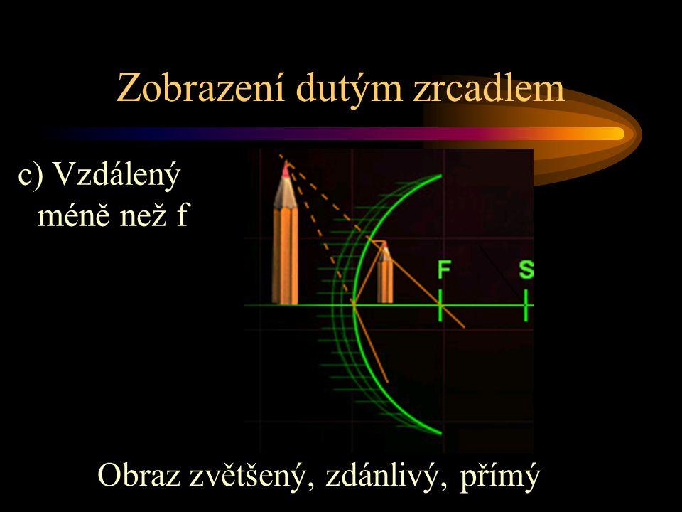 Zobrazení dutým zrcadlem Obraz zvětšený, zdánlivý, přímý c) Vzdálený méně než f