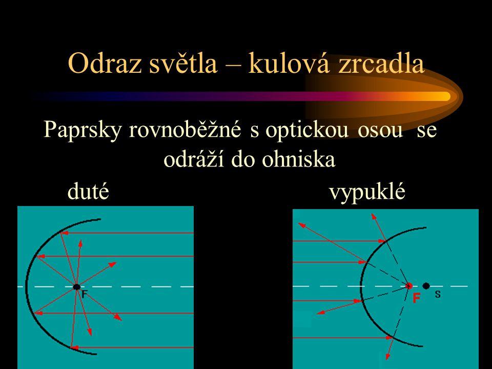Odraz světla – kulová zrcadla duté Paprsky rovnoběžné s optickou osou se odráží do ohniska vypuklé