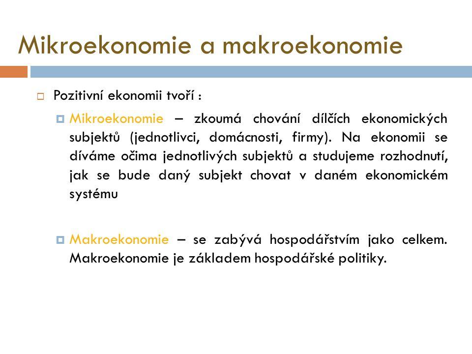 Pozitivní a normativní ekonomie  Pozitivní ekonomie  přijímá ekonomickou realitu takovou, jaká je.