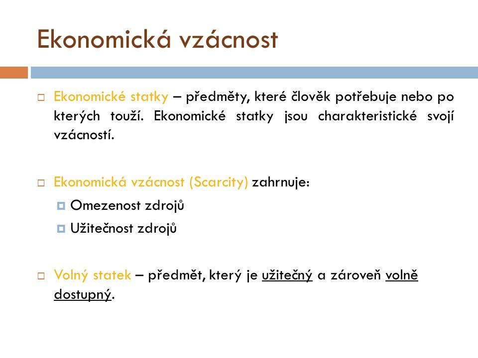 Mikroekonomie a makroekonomie  Pozitivní ekonomii tvoří :  Mikroekonomie – zkoumá chování dílčích ekonomických subjektů (jednotlivci, domácnosti, firmy).