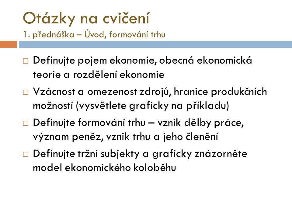Model ekonomického koloběhu DOMÁCNOSTI FIRMY důchody za služby VF platby za statky a služby Finanční (peněžní) rozměr toku produkce a důchodů za služby VF.