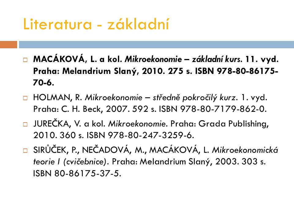 Literatura - základní  MACÁKOVÁ, L.a kol. Mikroekonomie – základní kurs.