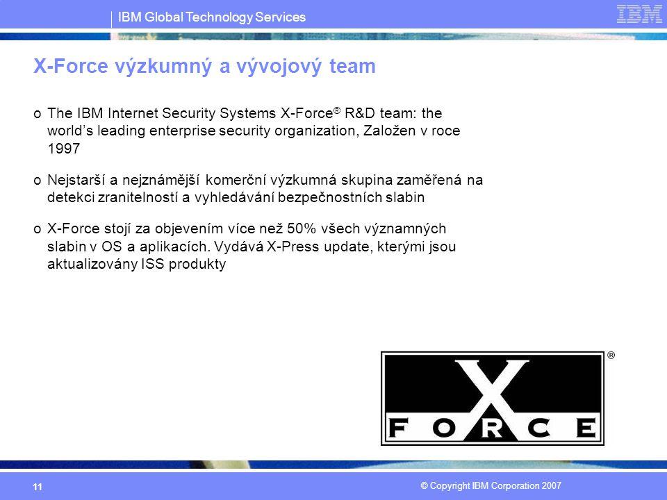 IBM Global Technology Services © Copyright IBM Corporation 2007 11 oThe IBM Internet Security Systems X-Force ® R&D team: the world's leading enterprise security organization, Založen v roce 1997 oNejstarší a nejznámější komerční výzkumná skupina zaměřená na detekci zranitelností a vyhledávání bezpečnostních slabin oX-Force stojí za objevením více než 50% všech významných slabin v OS a aplikacích.