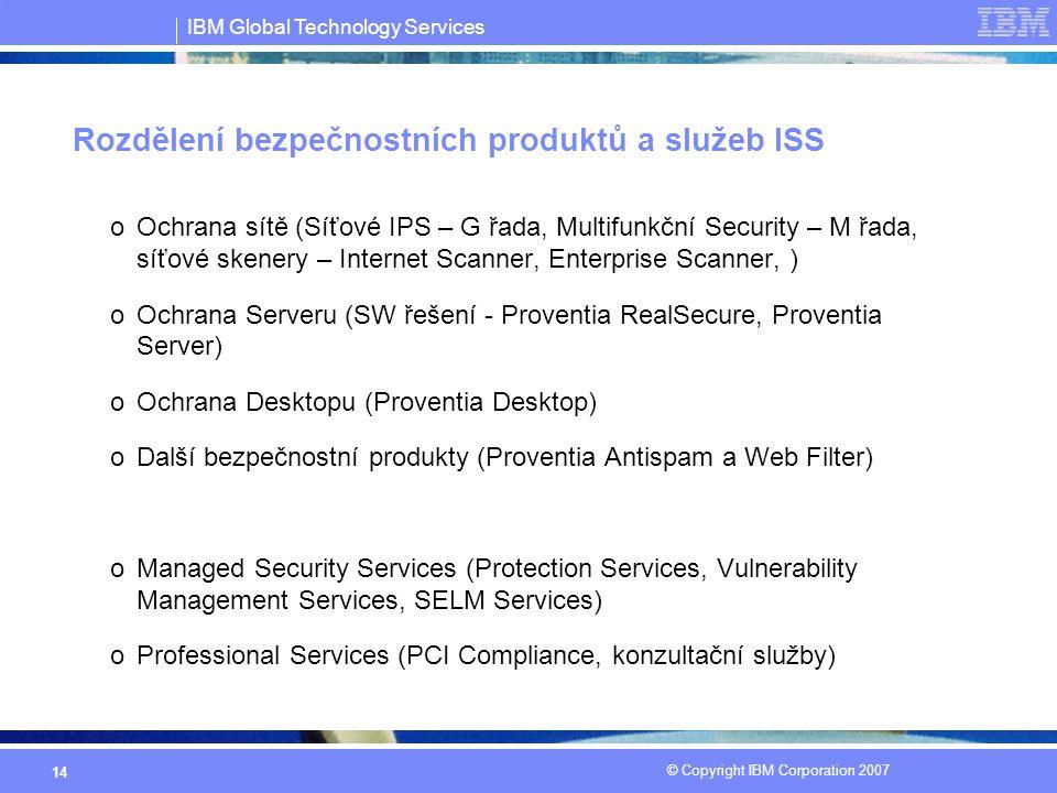 IBM Global Technology Services © Copyright IBM Corporation 2007 14 Rozdělení bezpečnostních produktů a služeb ISS oOchrana sítě (Síťové IPS – G řada, Multifunkční Security – M řada, síťové skenery – Internet Scanner, Enterprise Scanner, ) oOchrana Serveru (SW řešení - Proventia RealSecure, Proventia Server) oOchrana Desktopu (Proventia Desktop) oDalší bezpečnostní produkty (Proventia Antispam a Web Filter) oManaged Security Services (Protection Services, Vulnerability Management Services, SELM Services) oProfessional Services (PCI Compliance, konzultační služby)