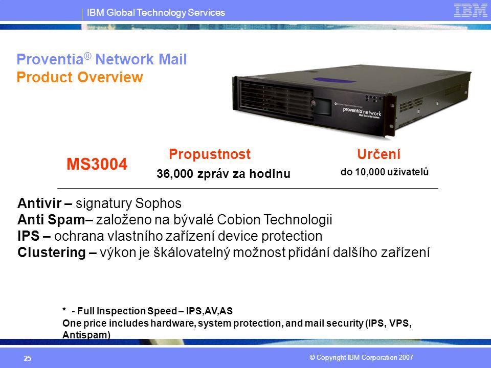 IBM Global Technology Services © Copyright IBM Corporation 2007 25 Proventia ® Network Mail Product Overview Určení MS3004 do 10,000 uživatelů Propust