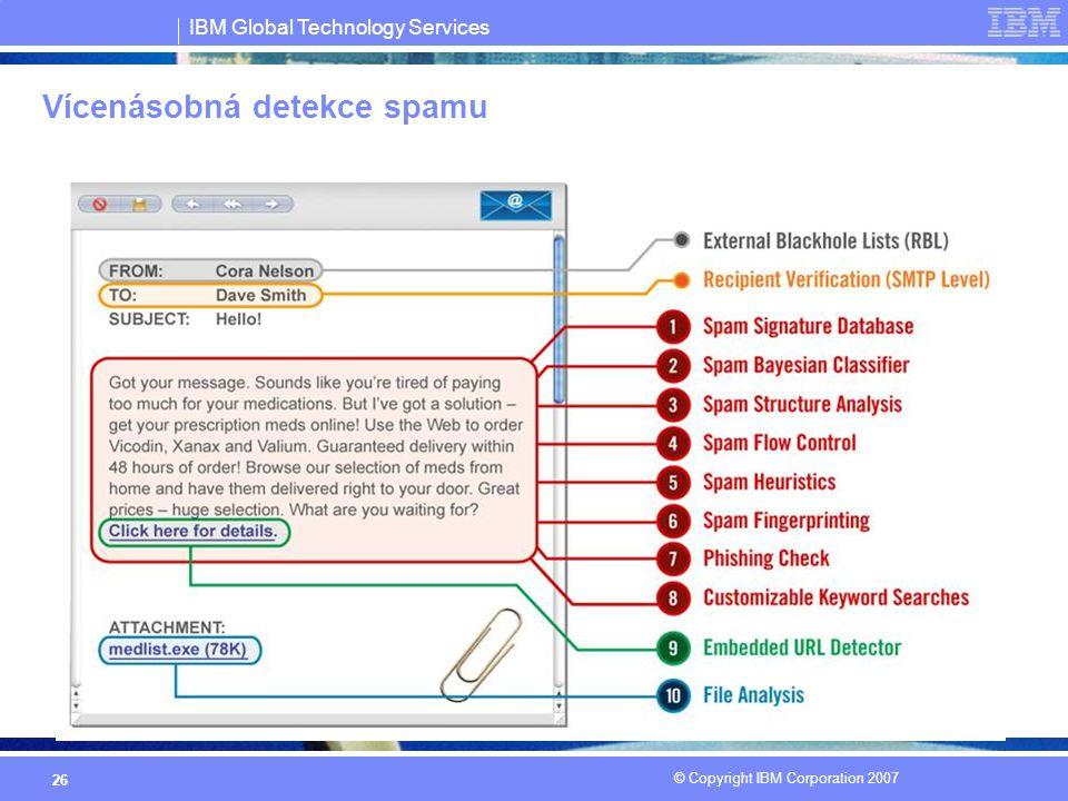 IBM Global Technology Services © Copyright IBM Corporation 2007 26 Vícenásobná detekce spamu