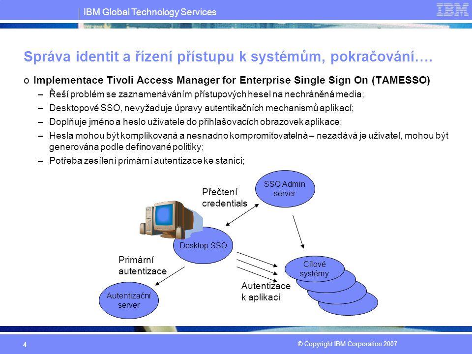 IBM Global Technology Services © Copyright IBM Corporation 2007 4 Správa identit a řízení přístupu k systémům, pokračování….