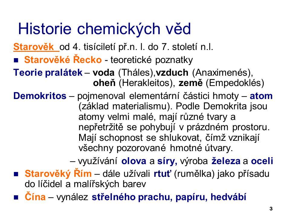3 Historie chemických věd Starověk od 4. tisíciletí př.n. l. do 7. století n.l. Starověké Řecko - teoretické poznatky Teorie pralátek – voda (Tháles),